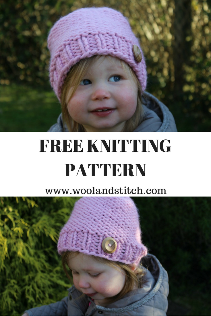 Mini kids knit purl hat free knitting pattern wool and stitch cut yarn leaving a long tail and thread through remaining stitches pull tight to close hat up and weave in ends add button to brim of hat and secure bankloansurffo Gallery