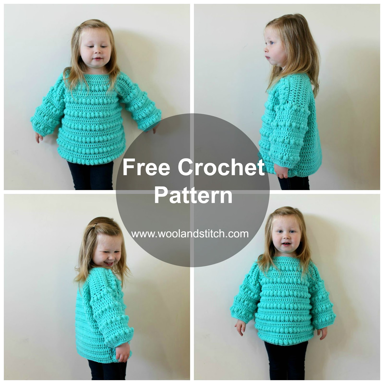 MINI KIDS BOBBLE SWEATER – FREE CROCHET PATTERN – Wool and Stitch
