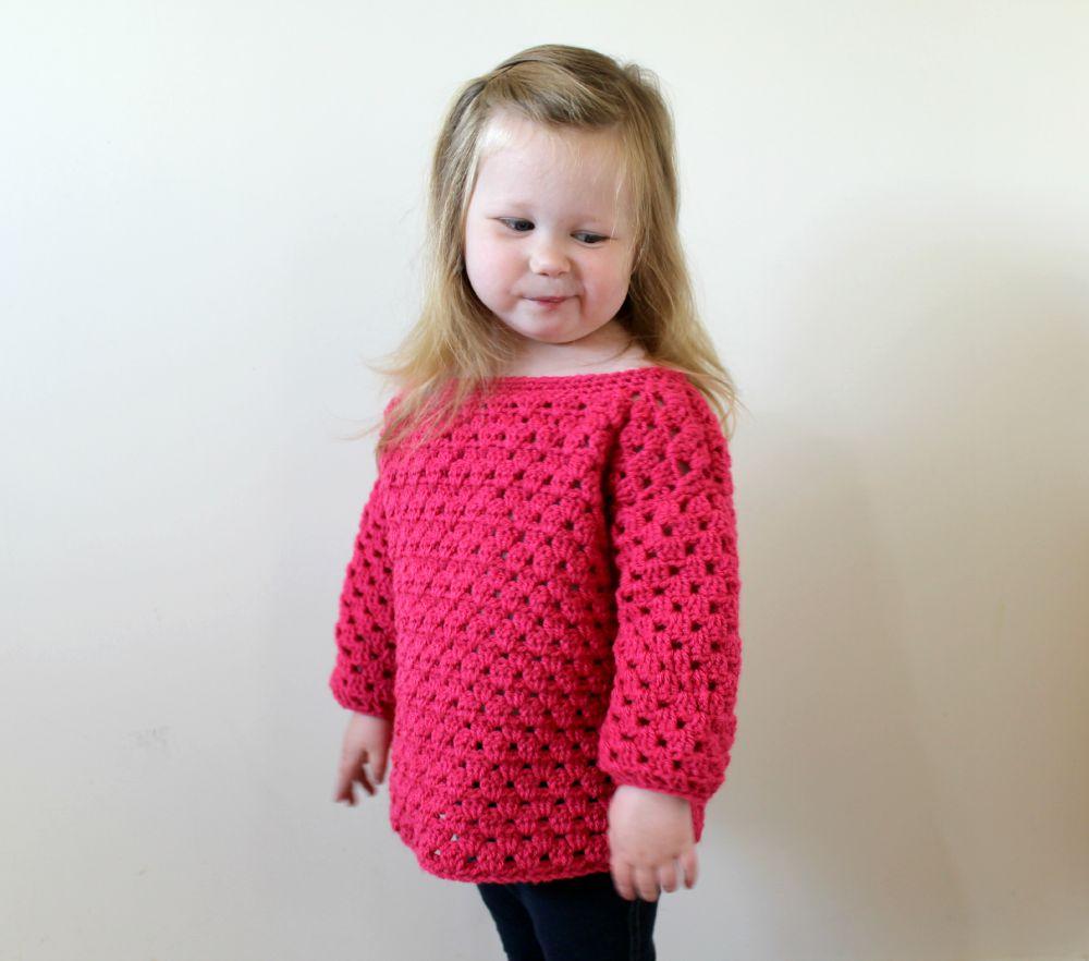 MINI KIDS GRANNY STRIPE SWEATER – FREE CROCHET PATTERN – Wool and Stitch